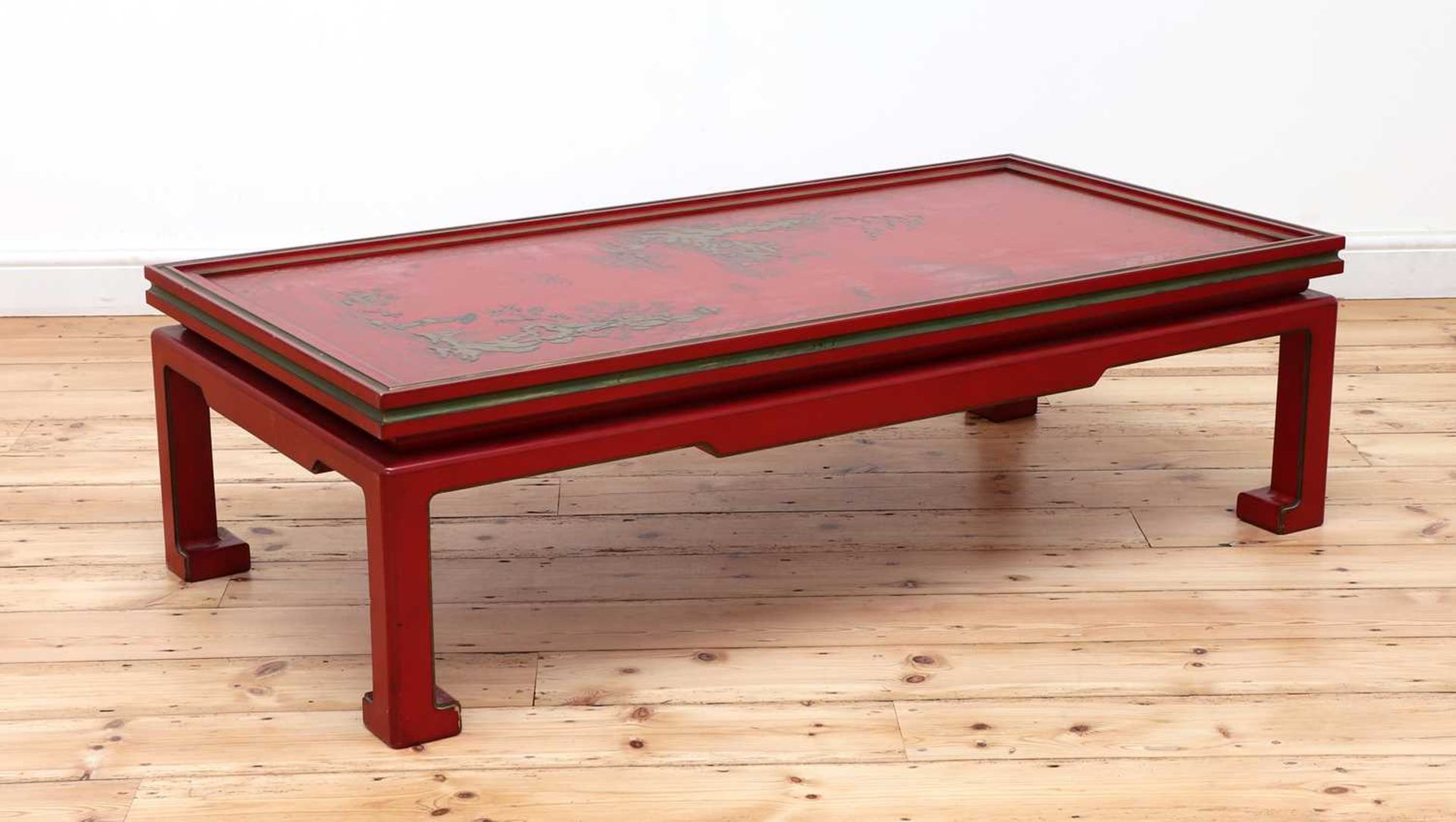 A Chinese-style red-lacquered coffee table in the manner of Mallett & Sons, - Image 2 of 9