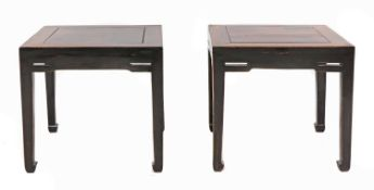 A pair of Chinese hardwood square tables,
