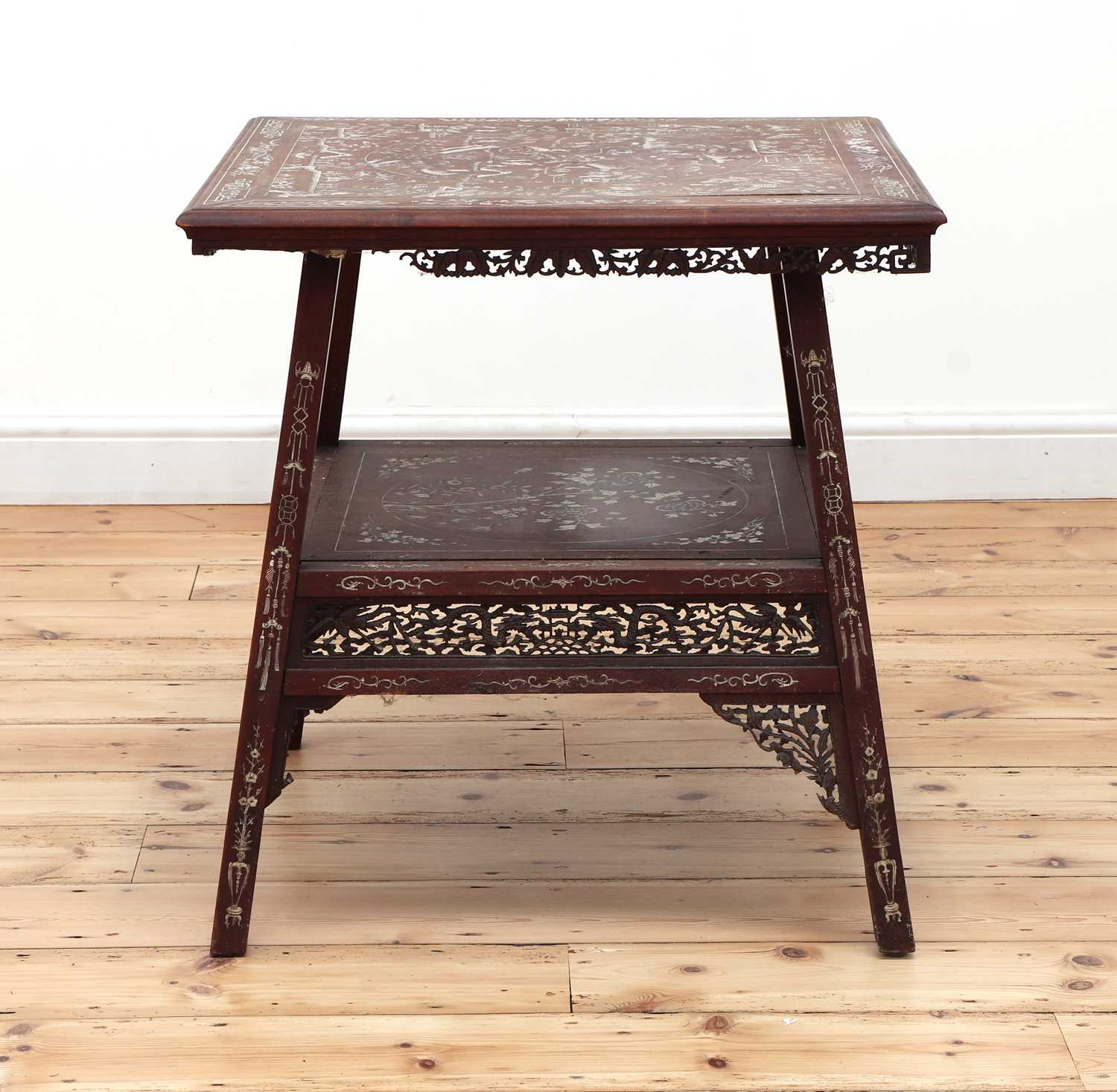 A Chinese hardwood and ivory inlaid occasional table, - Image 3 of 10