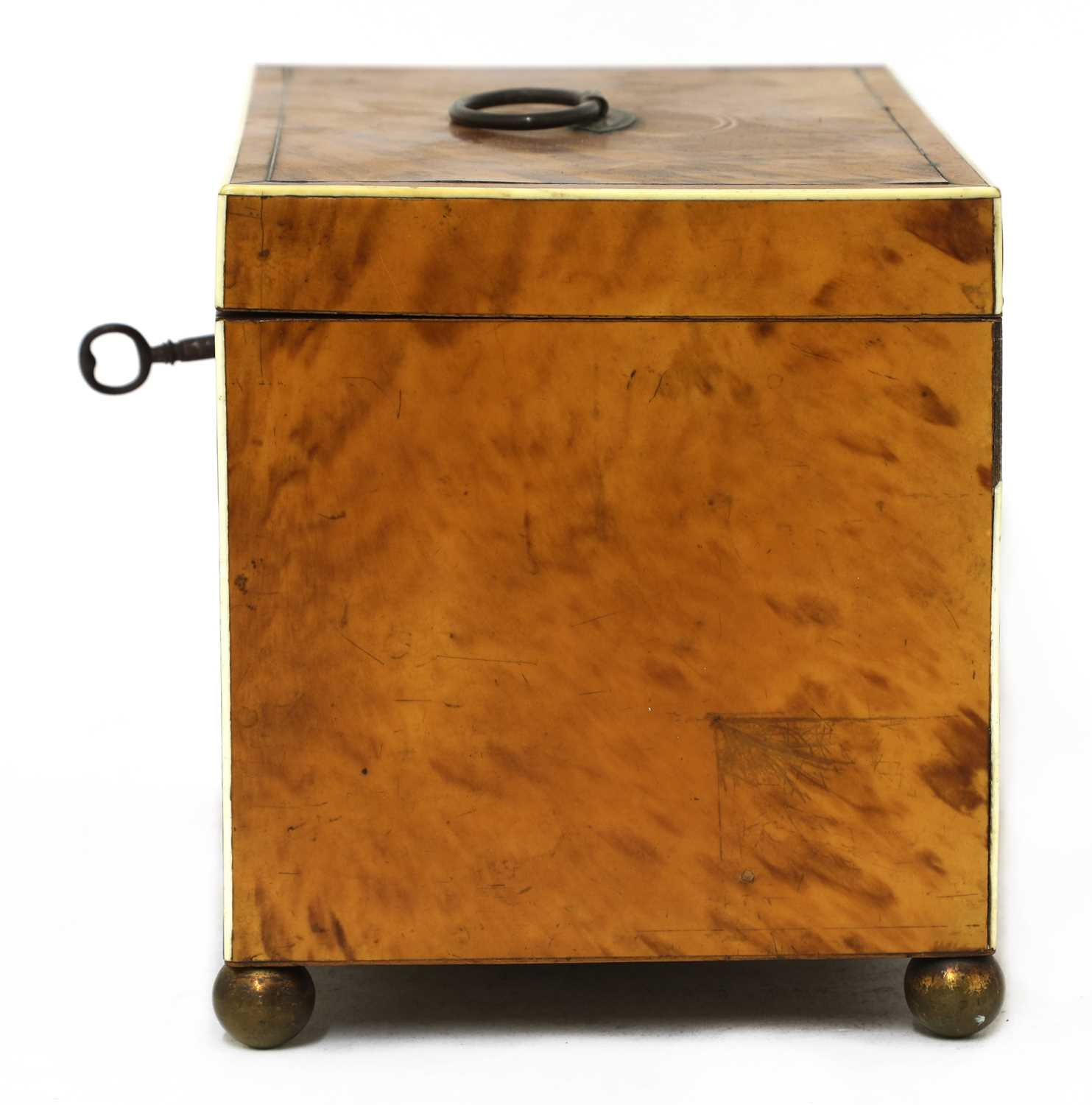 A blond tortoiseshell twin compartment tea caddy, - Image 4 of 4
