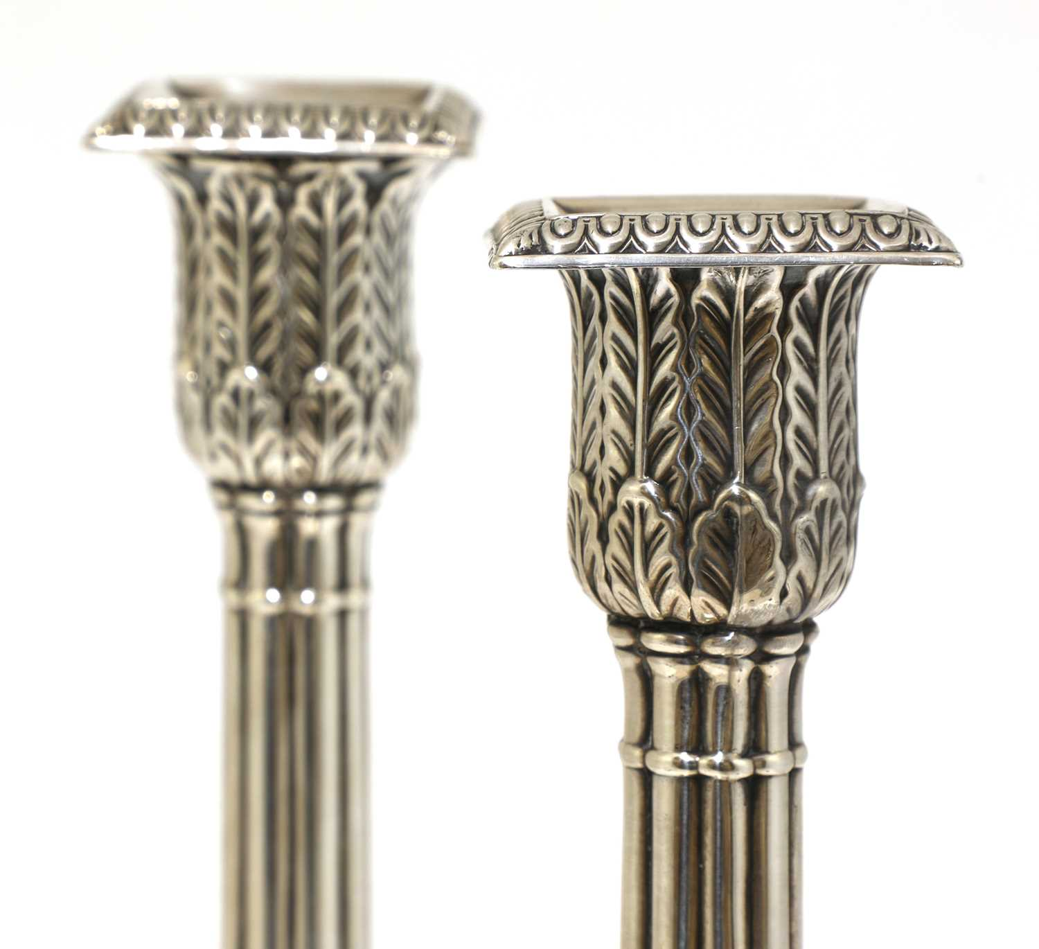 A pair of silver cluster column table candlesticks, - Image 3 of 6