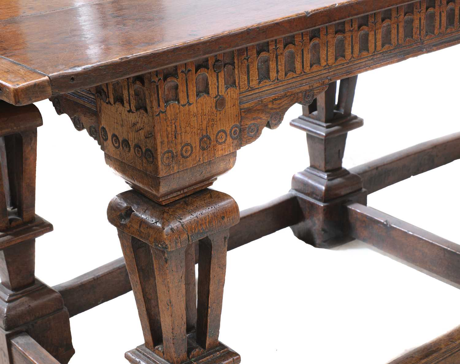 A Jacobean style oak refectory table, - Image 6 of 8
