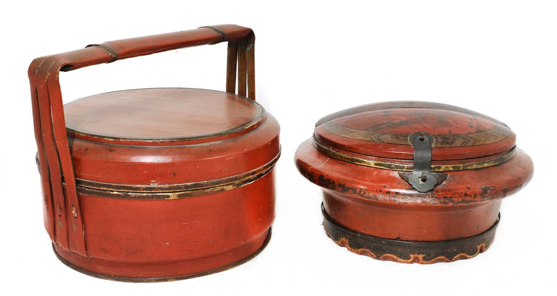 A Chinese red-lacquered food carrier, - Image 2 of 7