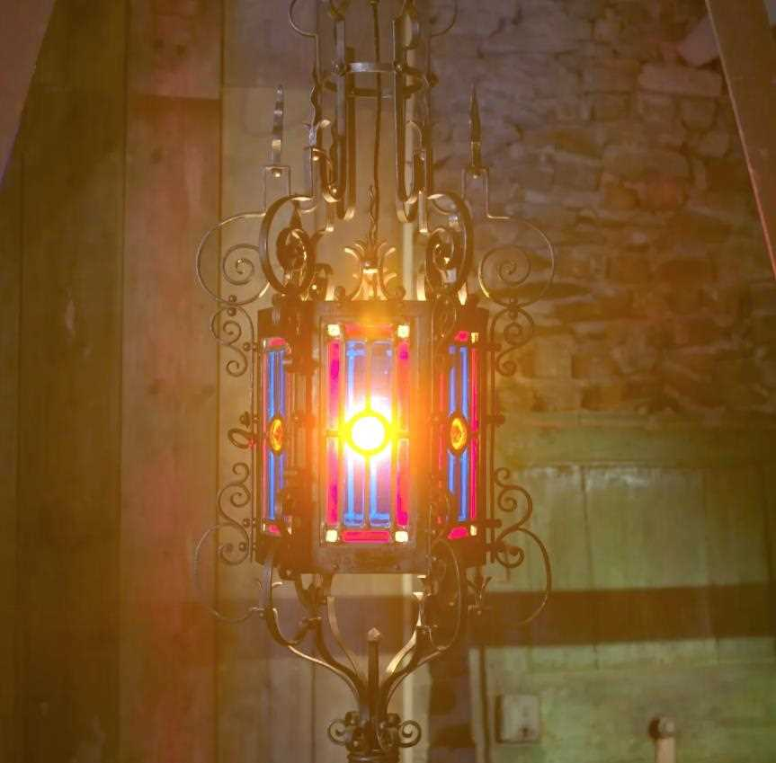 A wrought iron hall lantern in Gothic Revival style, - Image 4 of 4