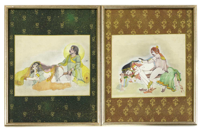 Fourteen Indian erotic paintings, - Image 5 of 5