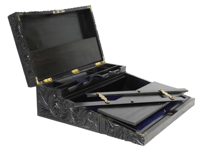 A Ceylonese ebony writing box, - Image 2 of 5