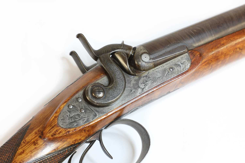 A 12-bore double-barrelled percussion shotgun, - Image 2 of 7