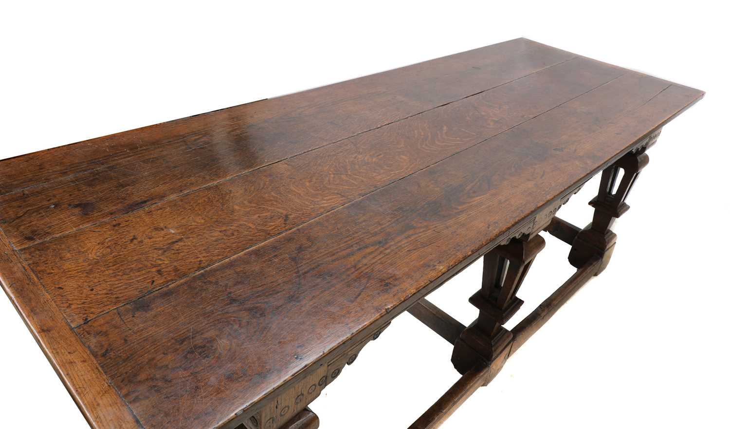 A Jacobean style oak refectory table, - Image 4 of 8