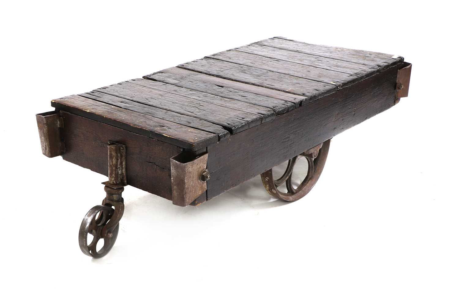 An industrial low coffee table, - Image 2 of 3