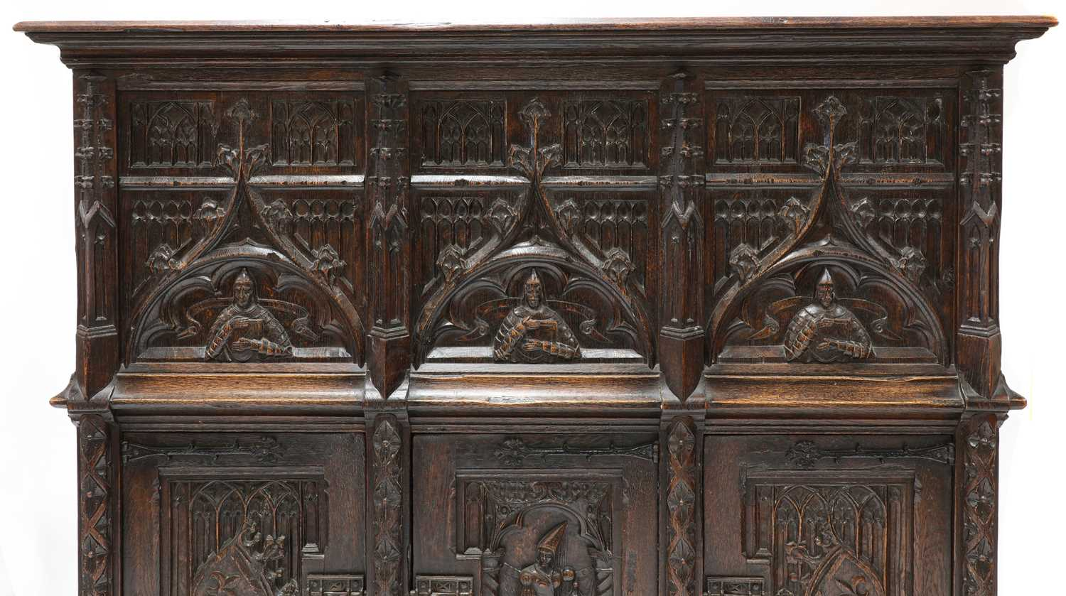 A Gothic-style oak cupboard, - Image 6 of 6