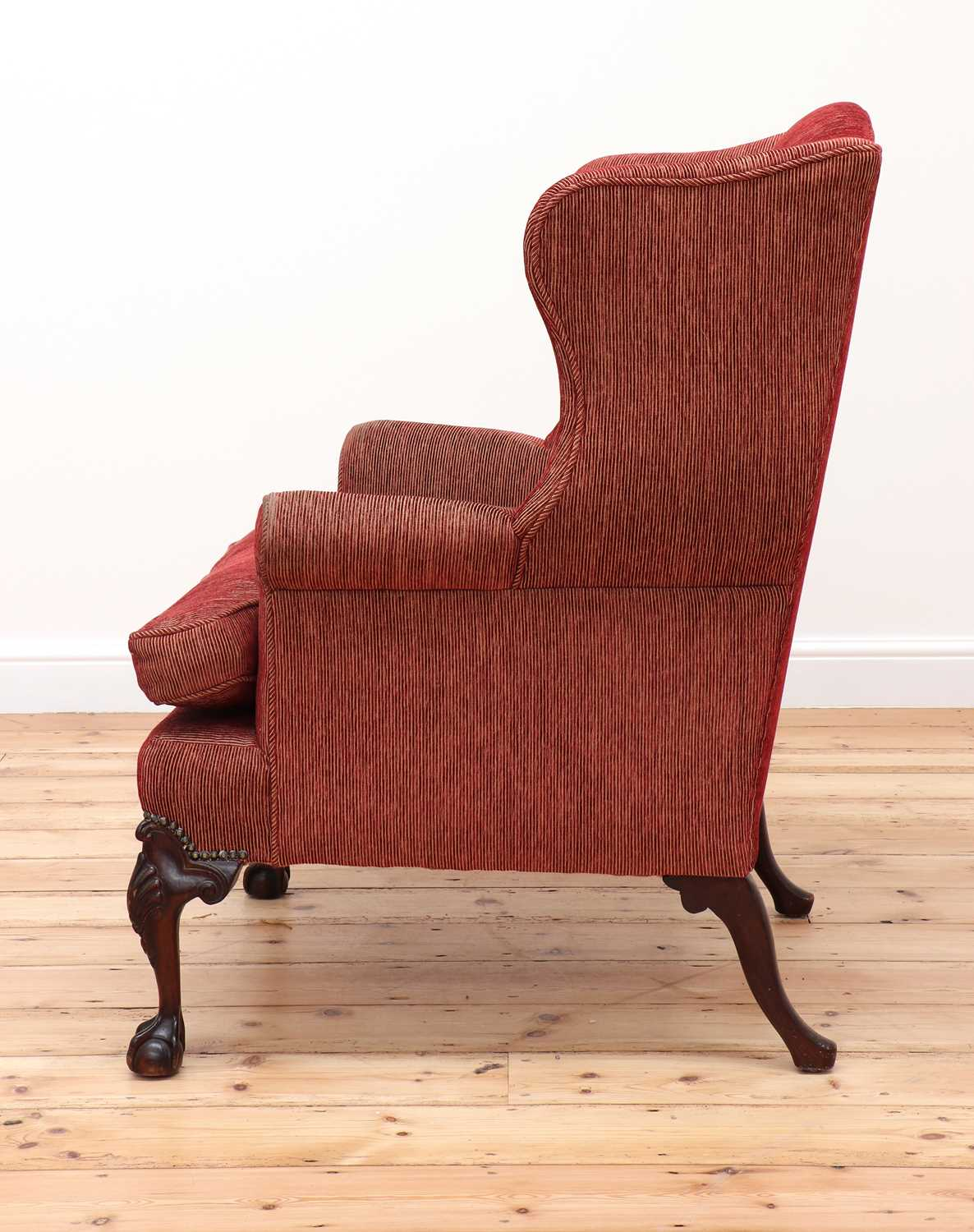 A George III-style mahogany-framed wingback armchair, - Image 3 of 5