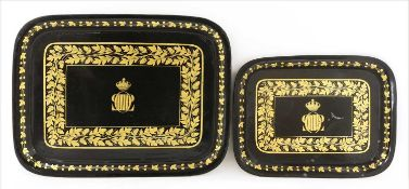 Two graduated Royal French Louis Philippe toleware trays,