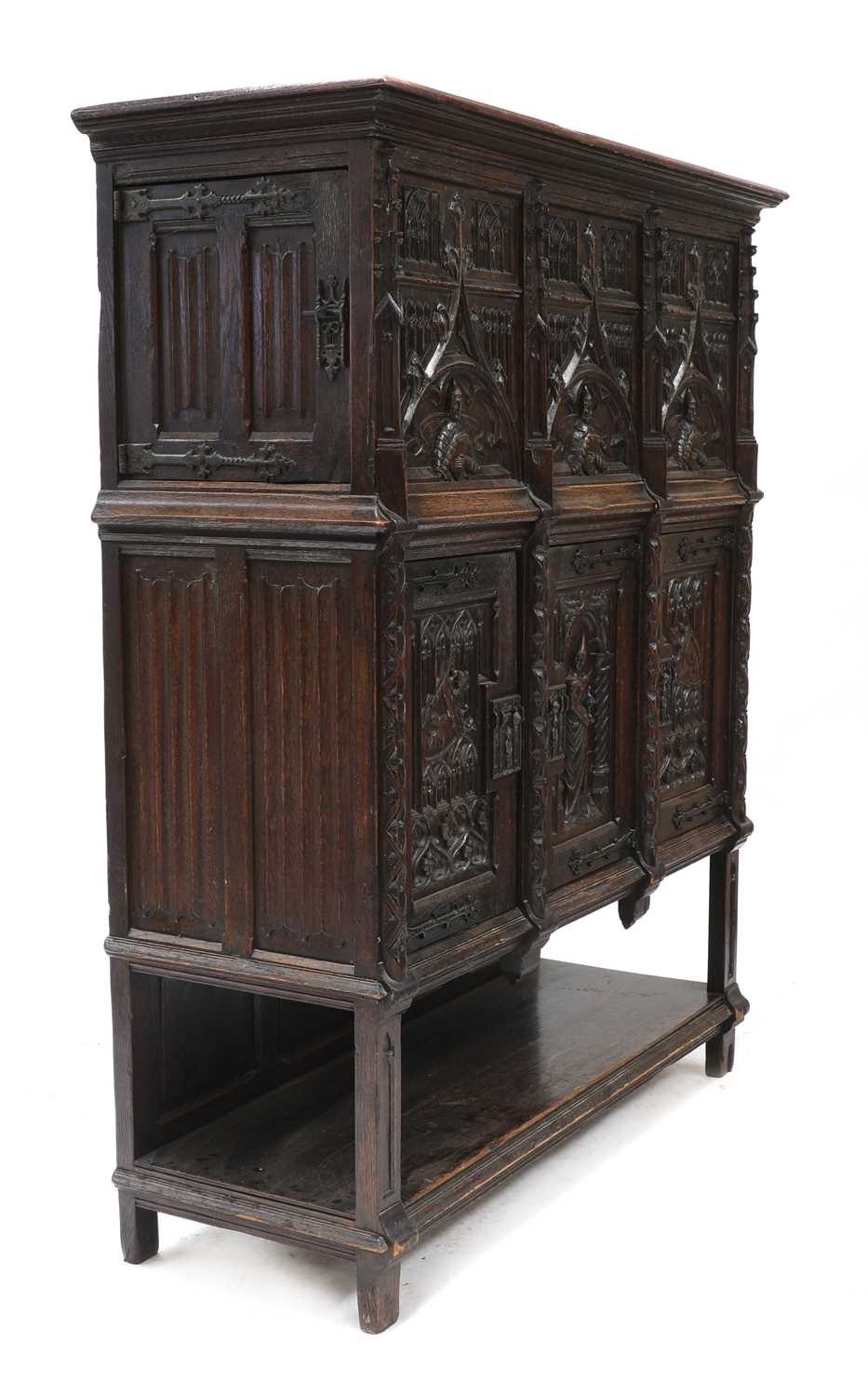 A Gothic-style oak cupboard, - Image 3 of 6