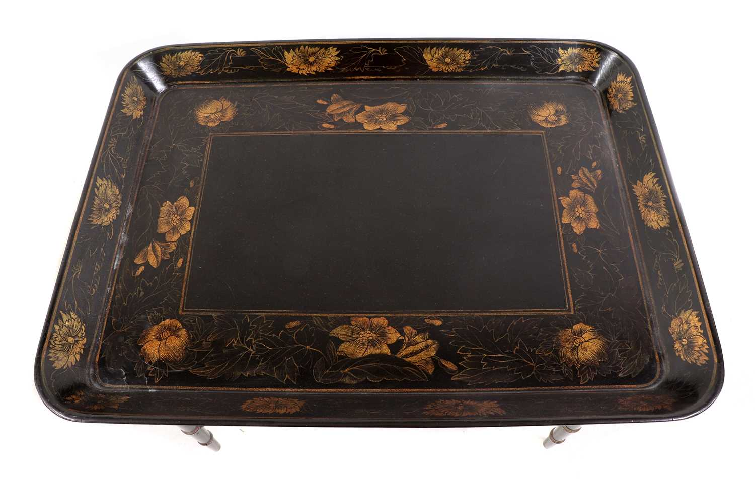 A pair of Regency-style papier mâché tray-top side tables, - Image 3 of 5