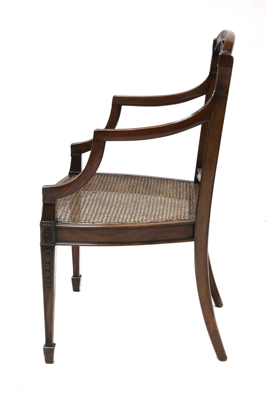 A set of six mahogany Sheraton Revival dining armchairs, - Image 4 of 6