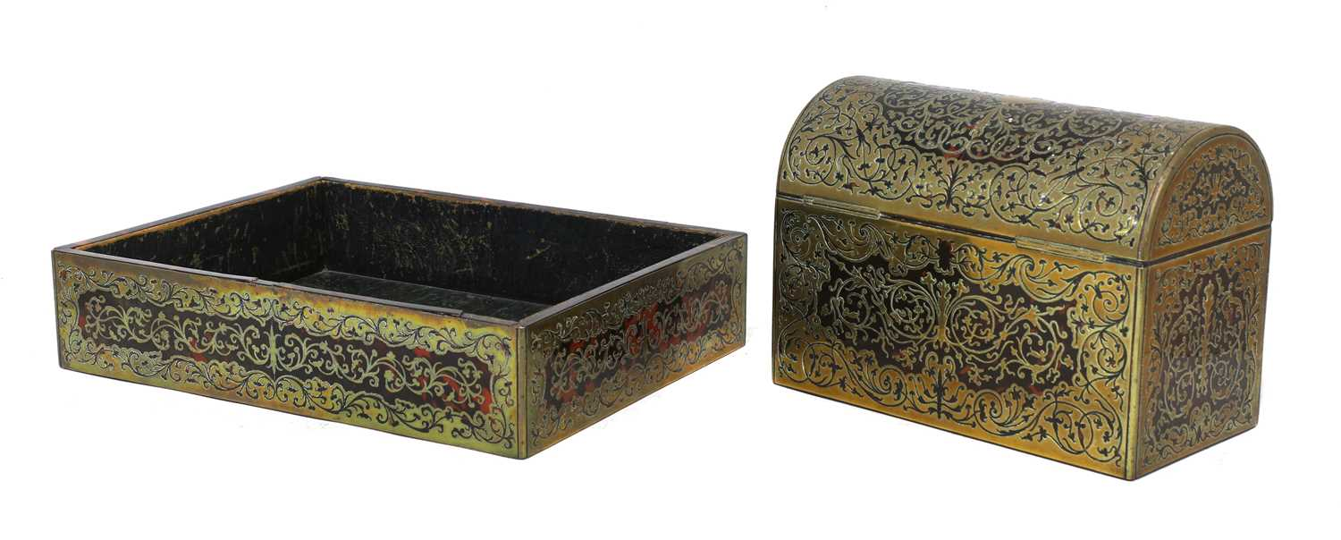 A boulle work desk box and tray, - Image 6 of 6