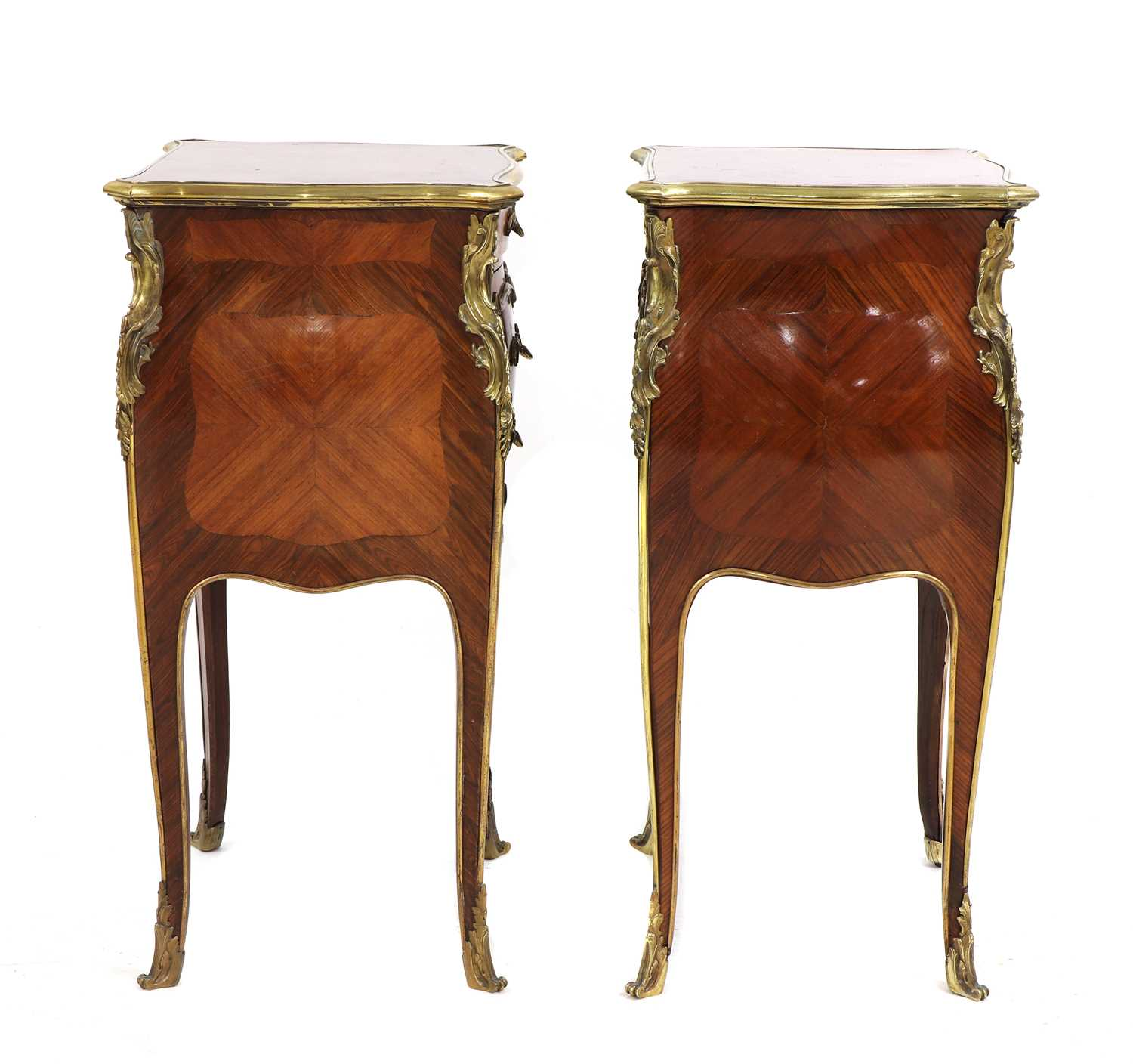 A pair of French Louis XV-style kingwood and ormolu night tables, - Image 3 of 9