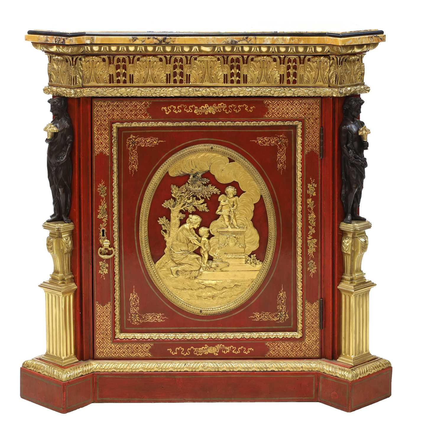 A red-lacquered and ormolu-mounted pier cabinet,