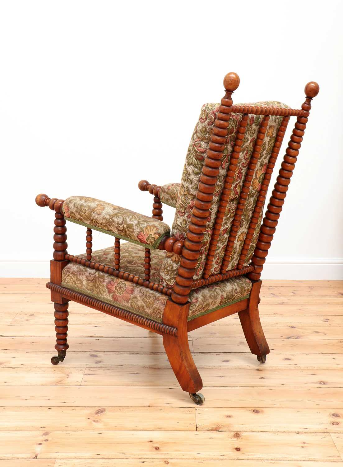 A Victorian fruitwood bobbin-turned library armchair, - Image 4 of 5
