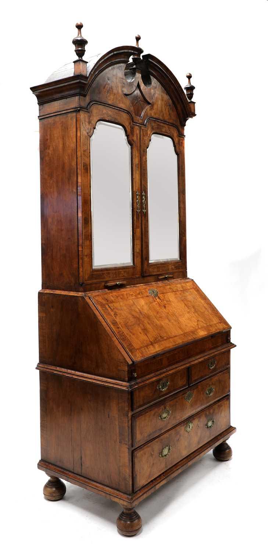 A walnut bureau bookcase, - Image 3 of 7