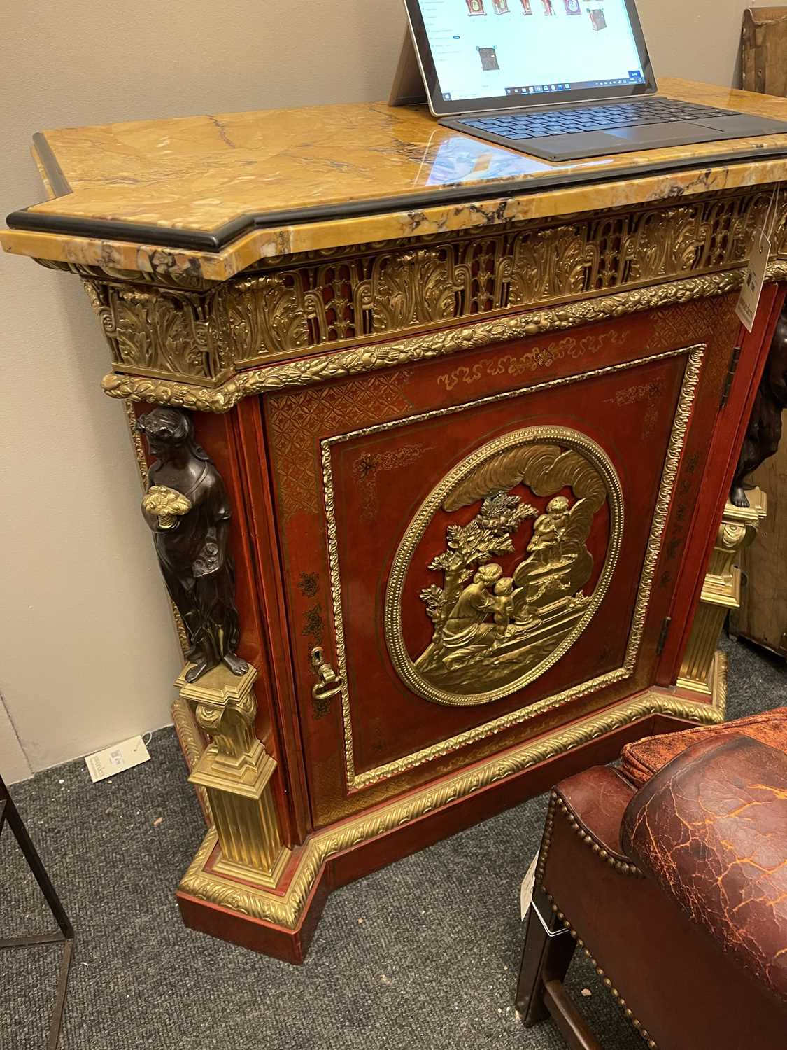 A red-lacquered and ormolu-mounted pier cabinet, - Image 10 of 16