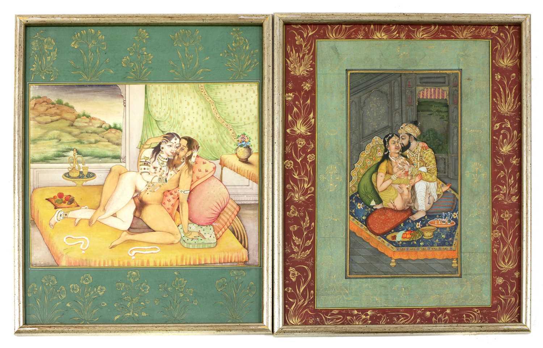 Fourteen Indian erotic paintings,