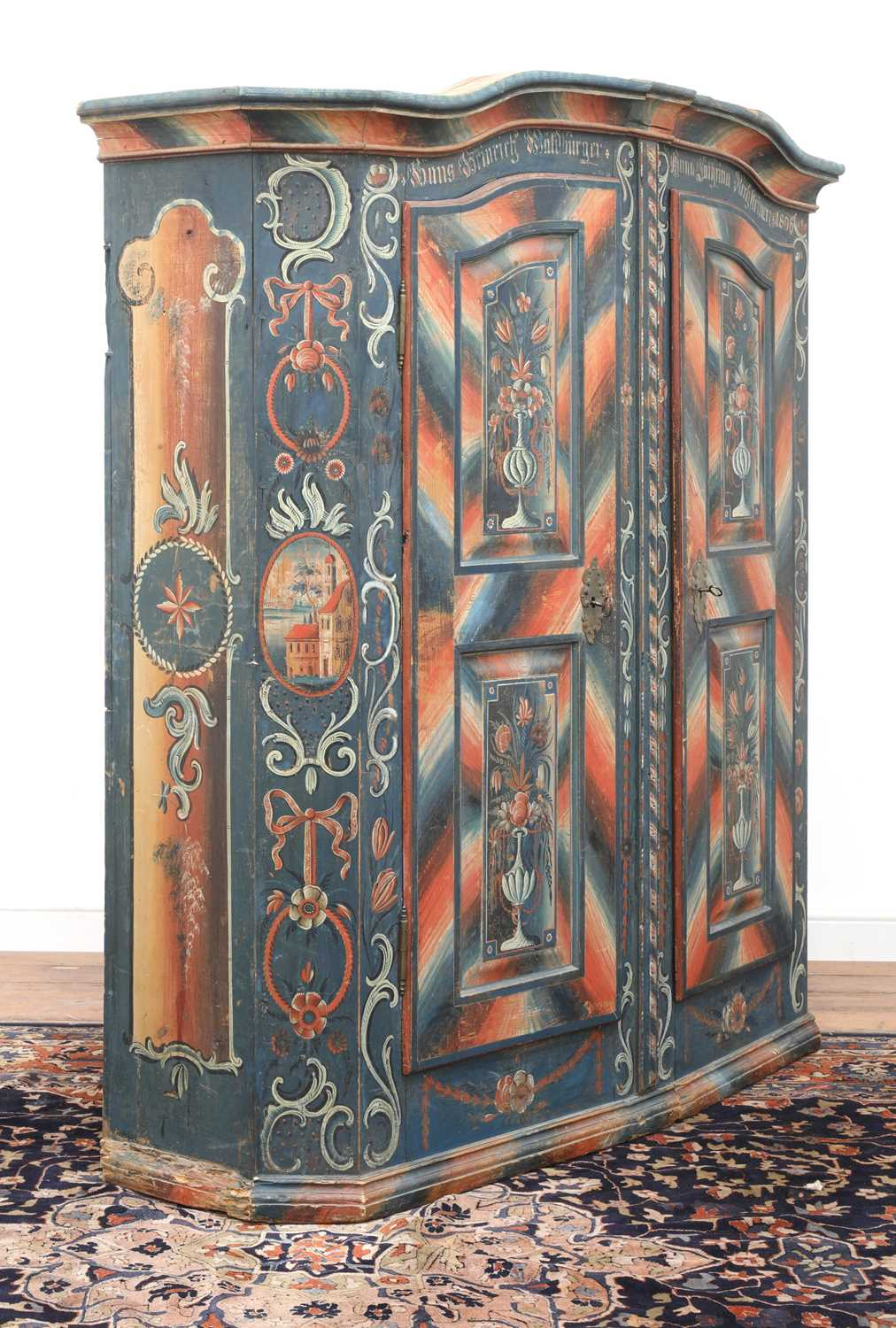 A Northern European painted pine armoire, - Image 2 of 10