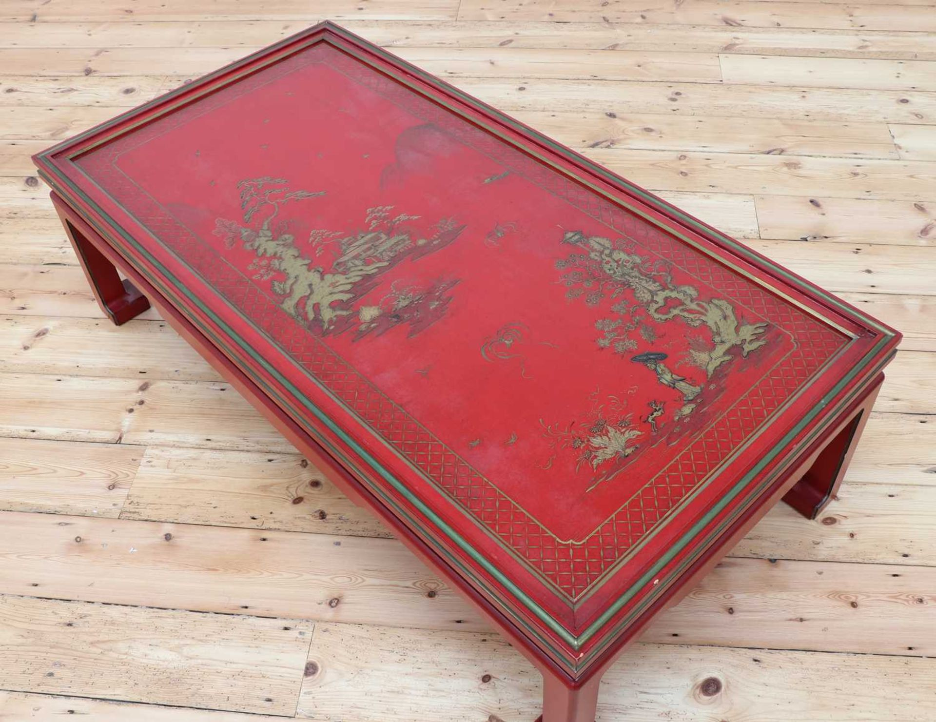 A Chinese-style red-lacquered coffee table in the manner of Mallett & Sons, - Image 6 of 9
