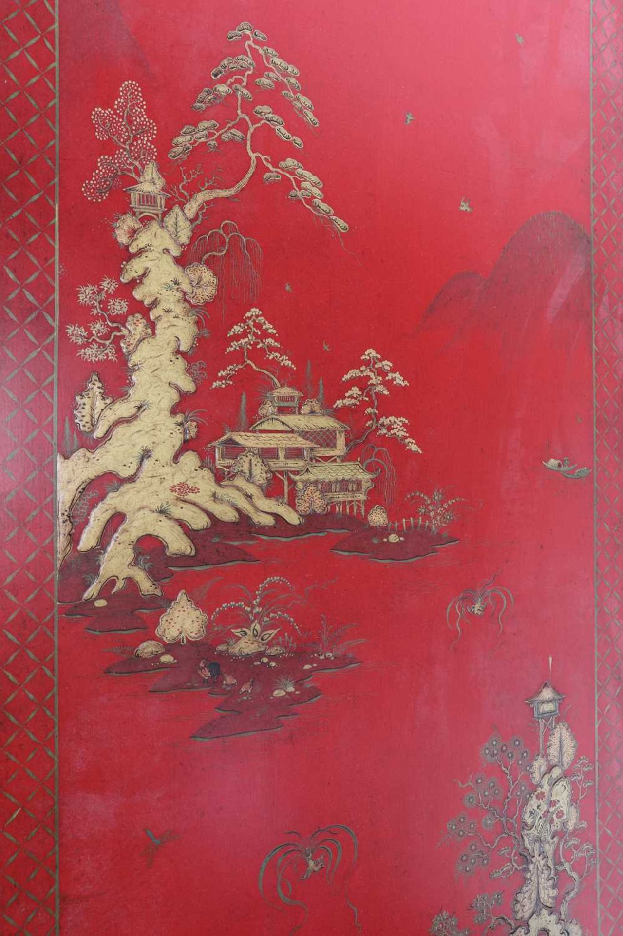 A Chinese-style red-lacquered coffee table in the manner of Mallett & Sons, - Image 8 of 9