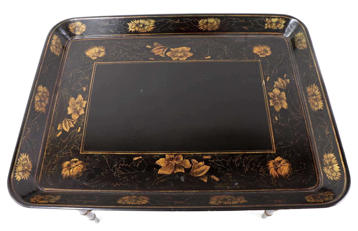 A pair of Regency-style papier mâché tray-top side tables, - Image 2 of 5