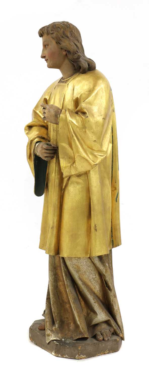 A Continental carved wood figure of a saint, - Image 3 of 4