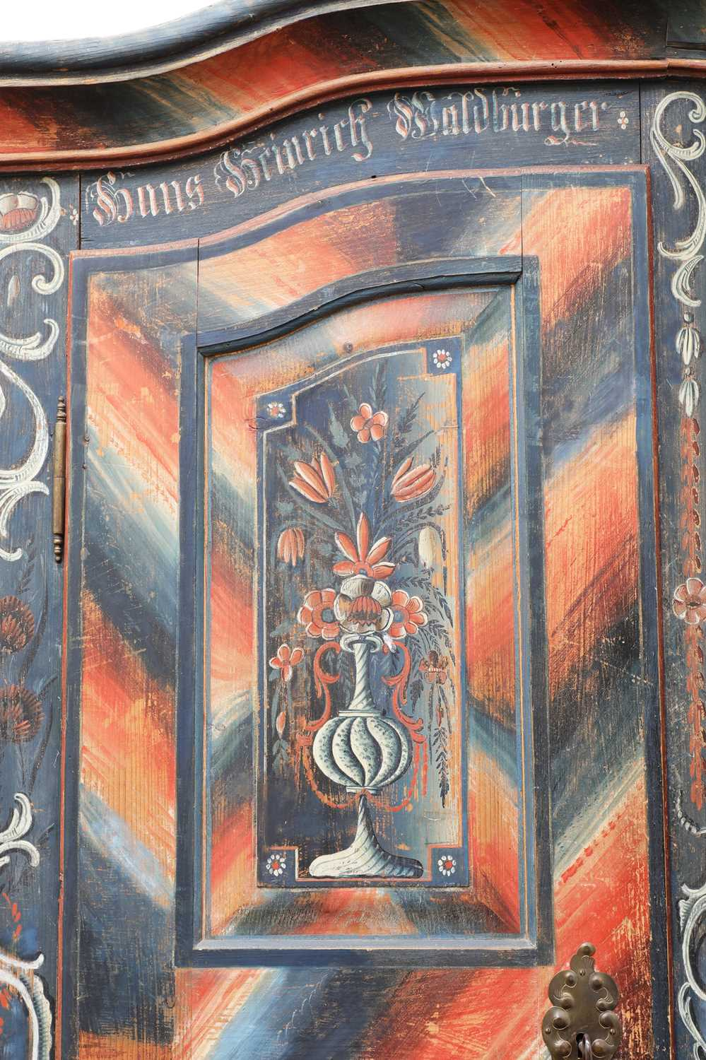 A Northern European painted pine armoire, - Image 4 of 10