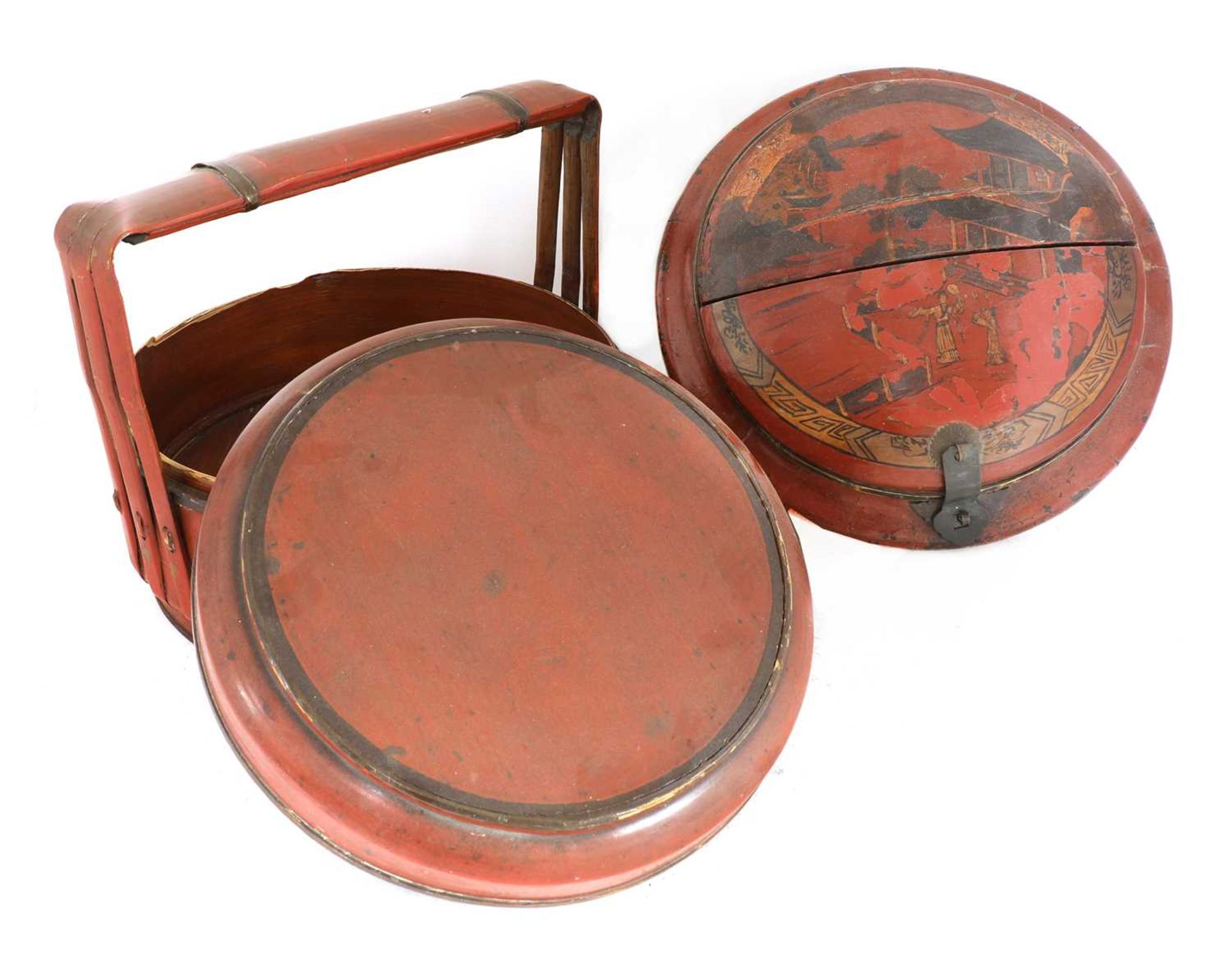 A Chinese red-lacquered food carrier, - Image 4 of 7