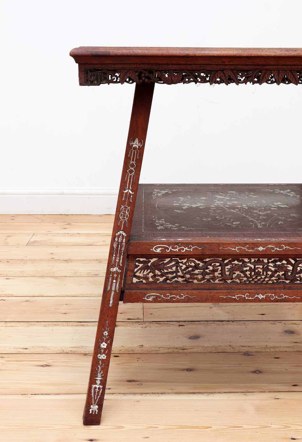 A Chinese hardwood and ivory inlaid occasional table, - Image 10 of 10