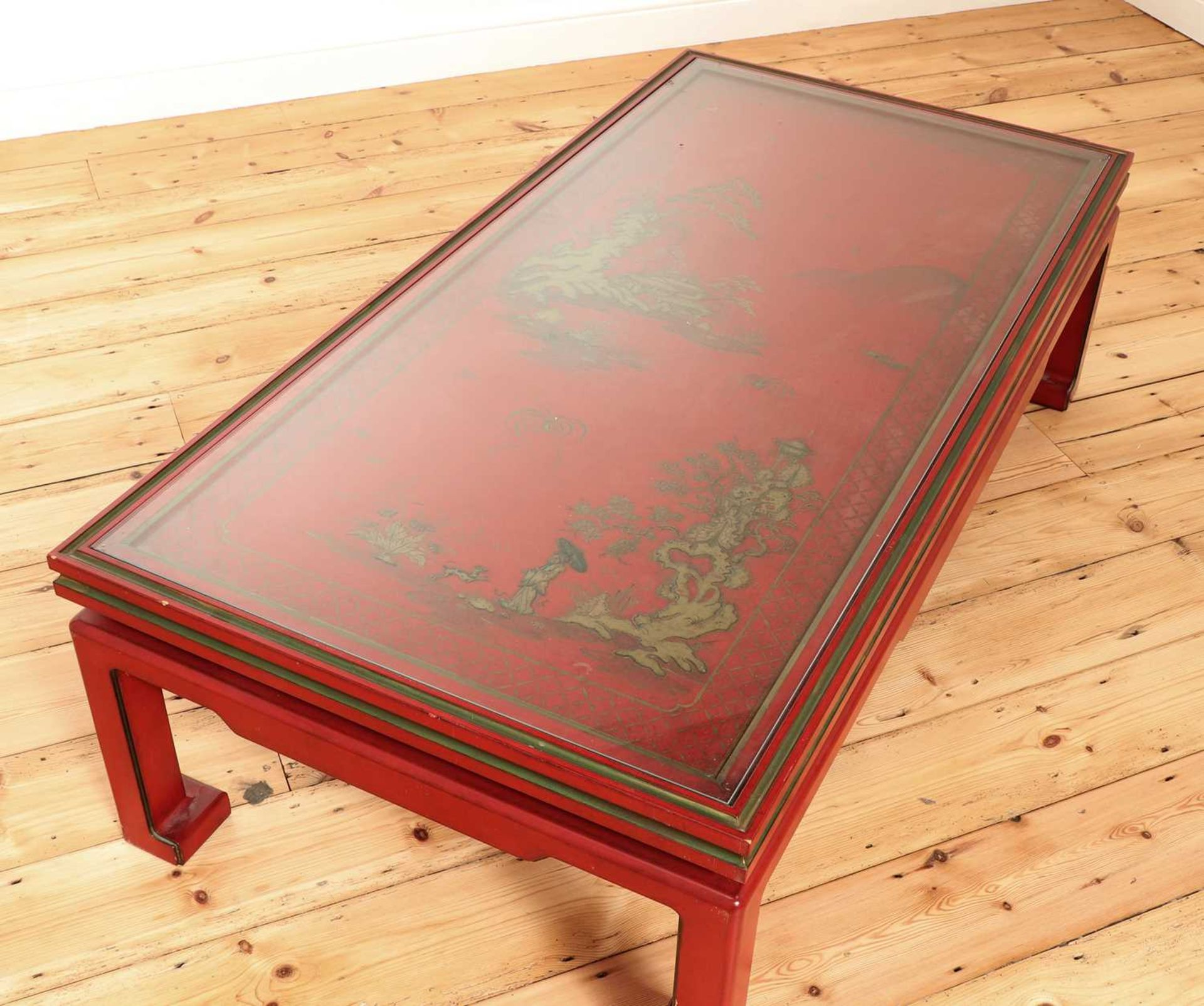 A Chinese-style red-lacquered coffee table in the manner of Mallett & Sons, - Image 5 of 9