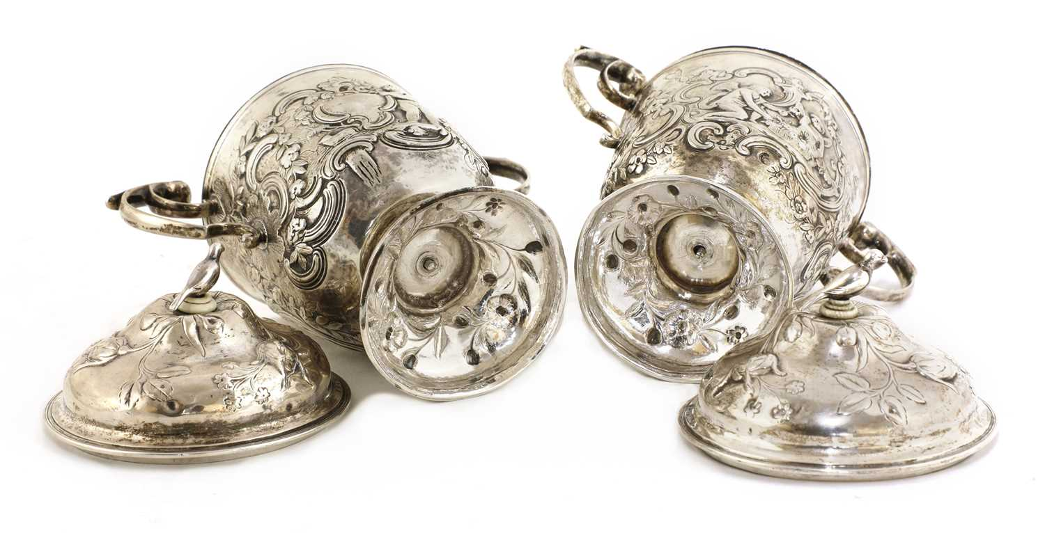 A pair of Continental silver urns, - Image 4 of 5