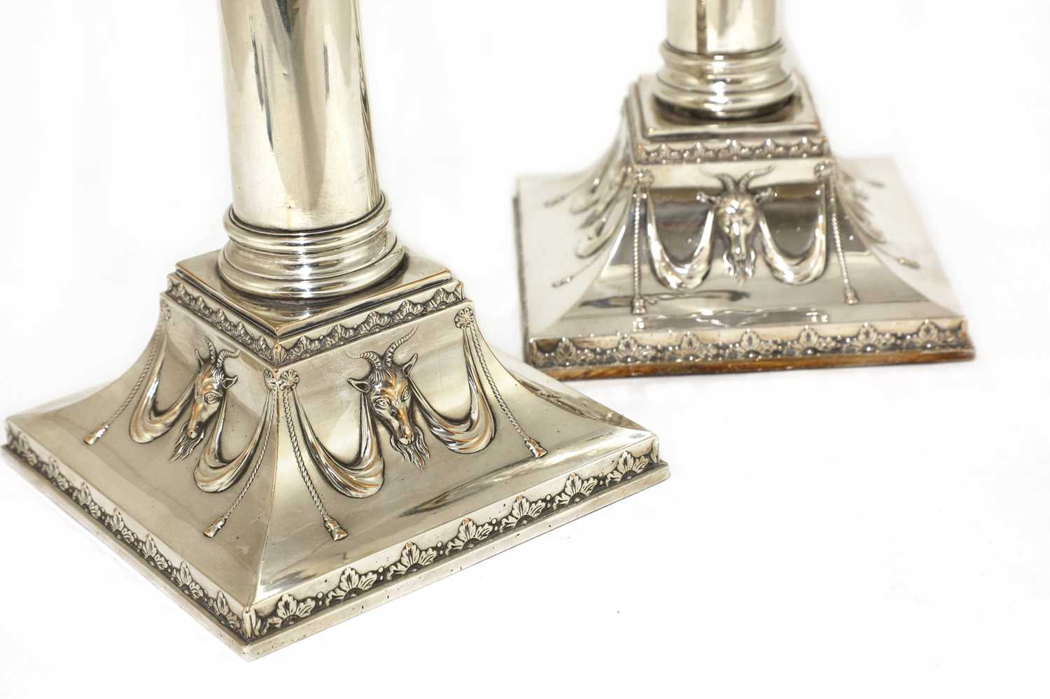 A pair of Edwardian silver-plated neoclassical candlesticks, - Image 3 of 5