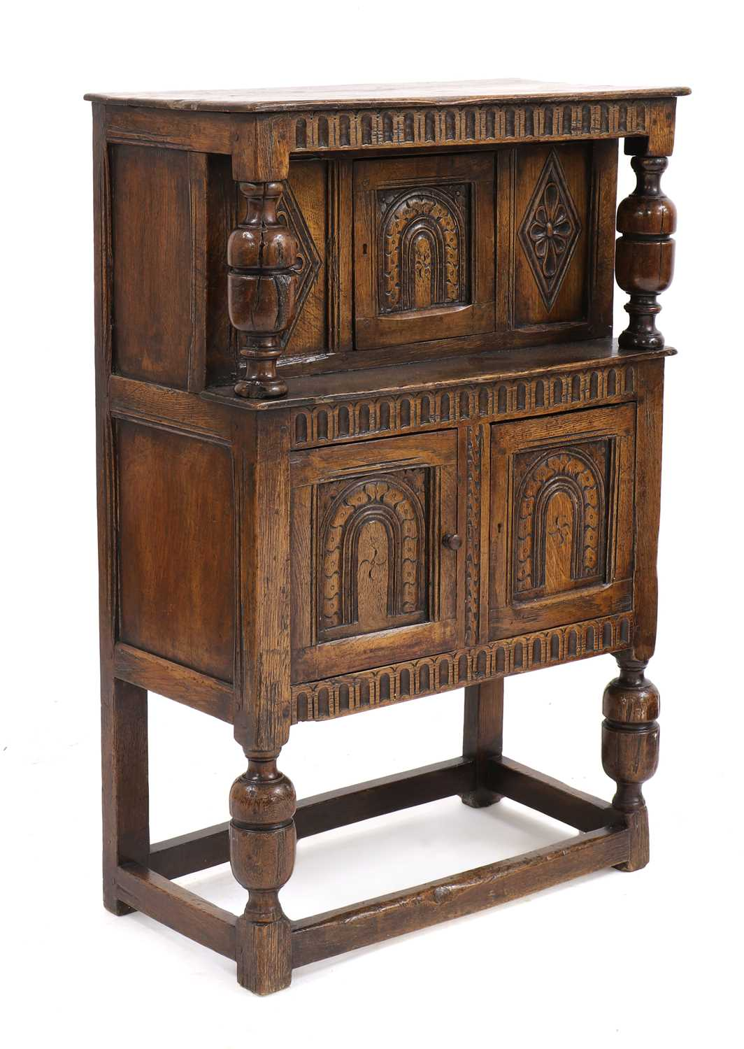 A small oak court cupboard, - Image 2 of 6