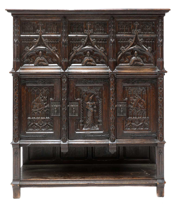 A Gothic-style oak cupboard,