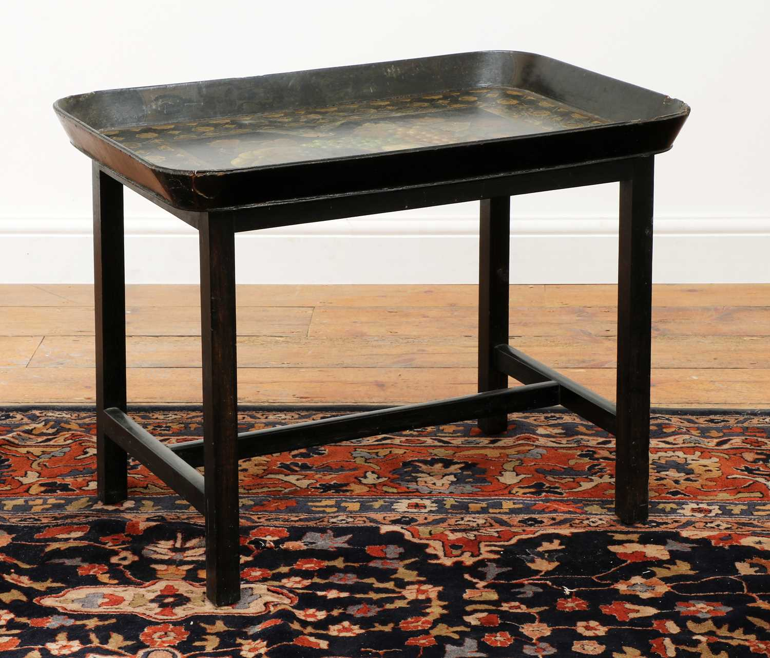A Regency black lacquer galleried tray on stand, - Image 3 of 5
