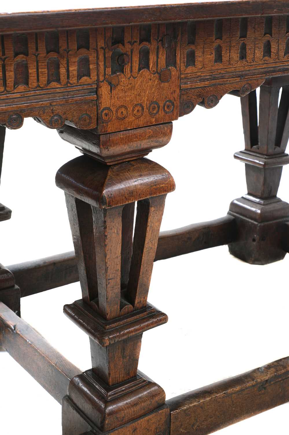 A Jacobean style oak refectory table, - Image 5 of 8