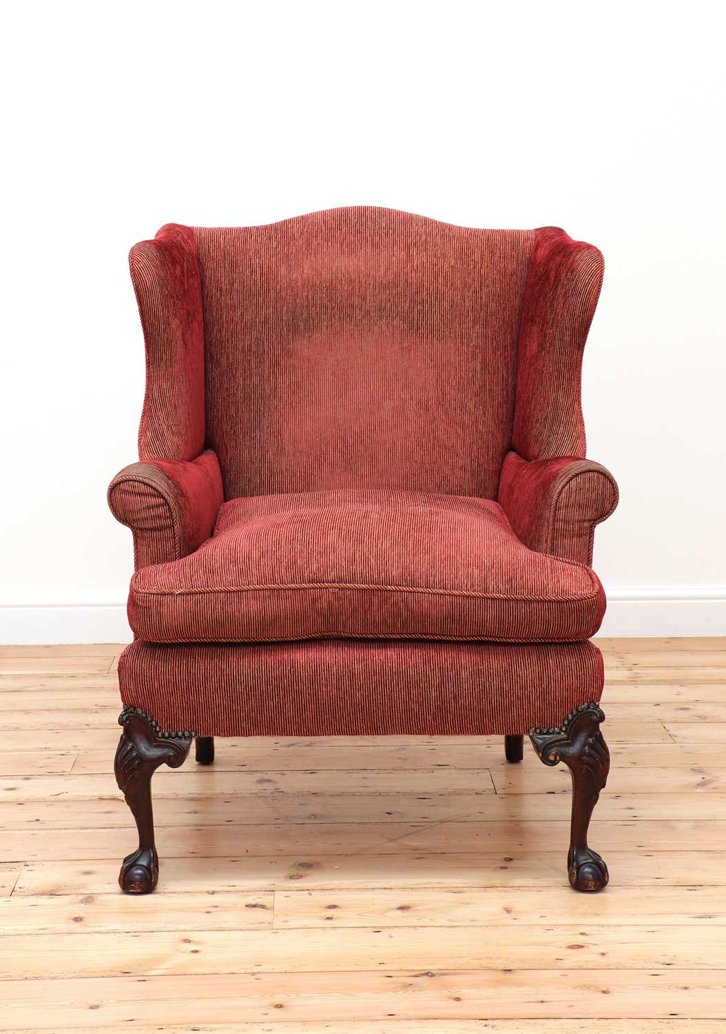 A George III-style mahogany-framed wingback armchair, - Image 2 of 5