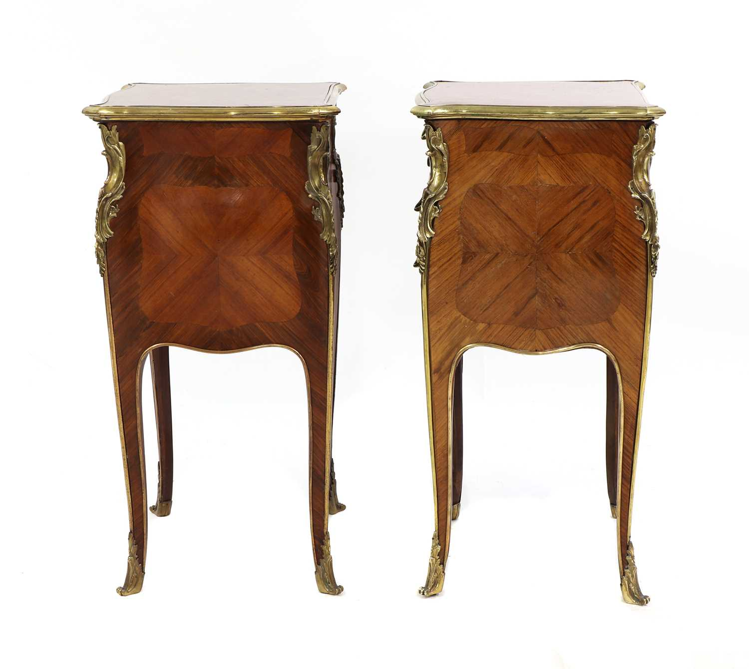 A pair of French Louis XV-style kingwood and ormolu night tables, - Image 2 of 9