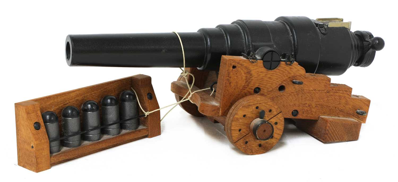 A model of an 1860 breech-loading Armstrong RBL 7in naval gun,