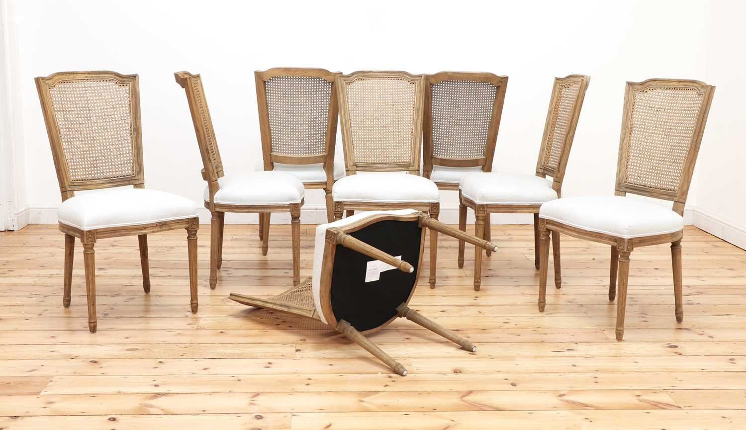 A set of eight modern bleached oak dining chairs, - Image 2 of 5