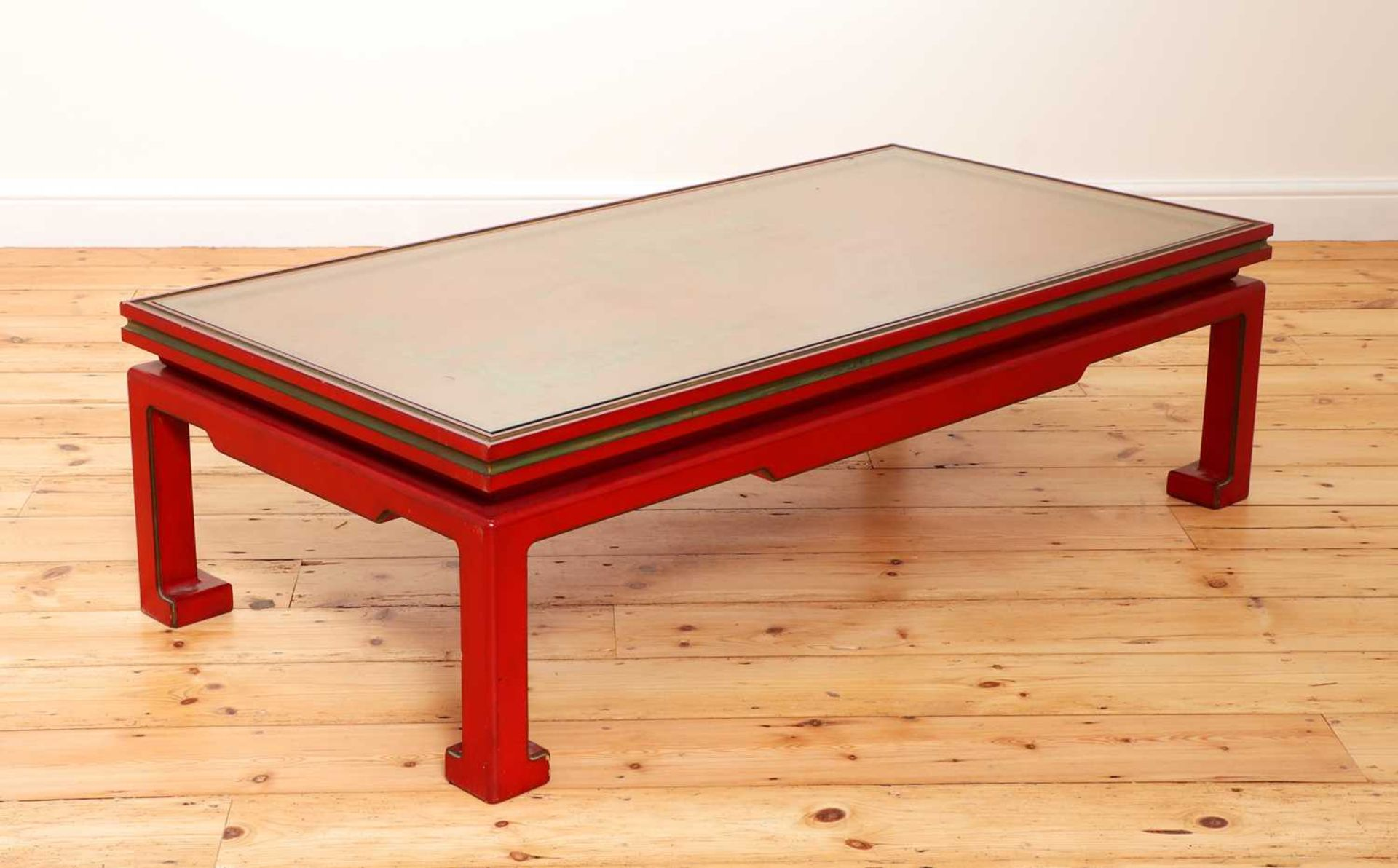 A Chinese-style red-lacquered coffee table in the manner of Mallett & Sons, - Image 4 of 9