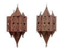 A large pair of Moroccan iron lanterns,