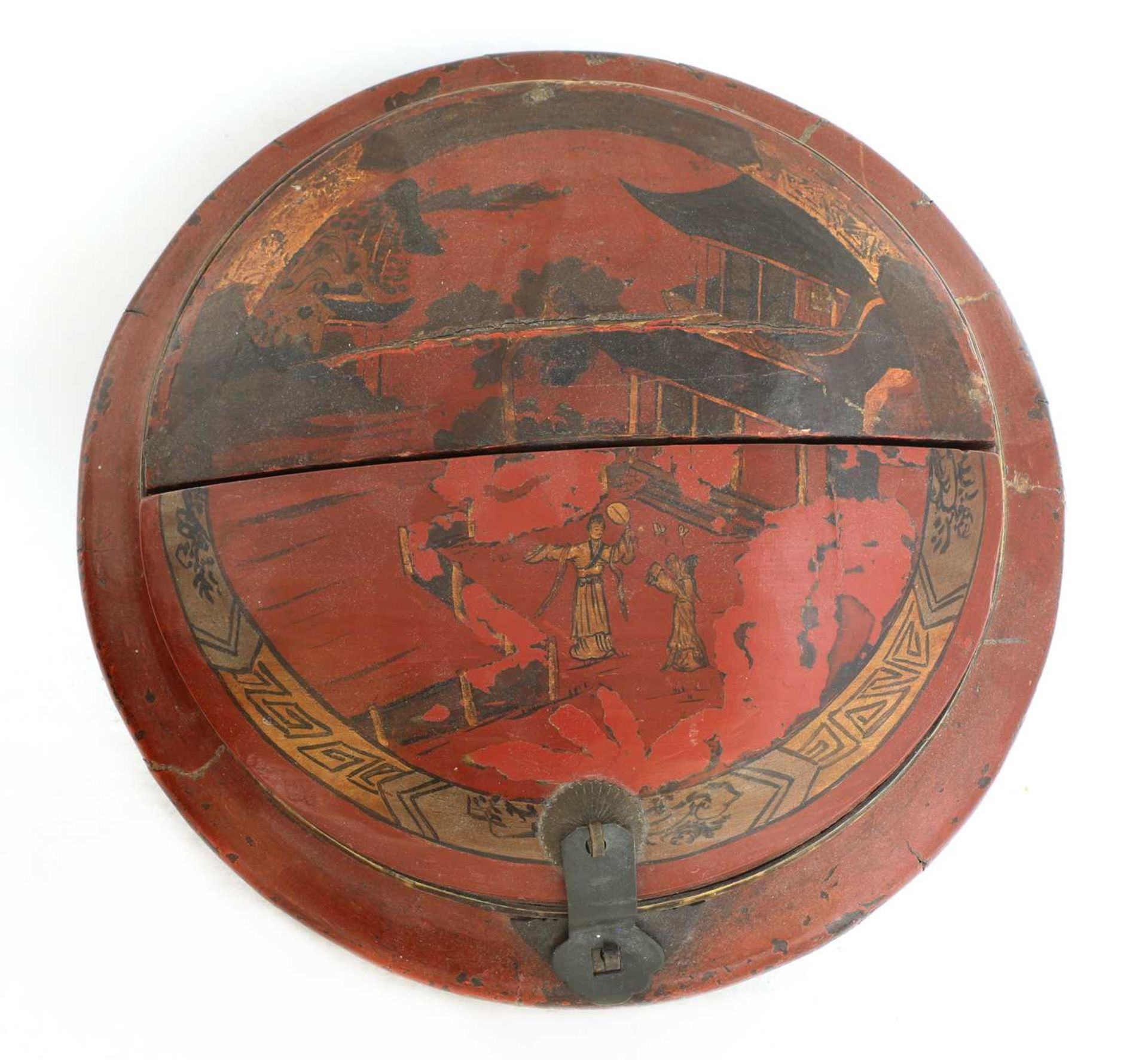 A Chinese red-lacquered food carrier, - Image 5 of 7