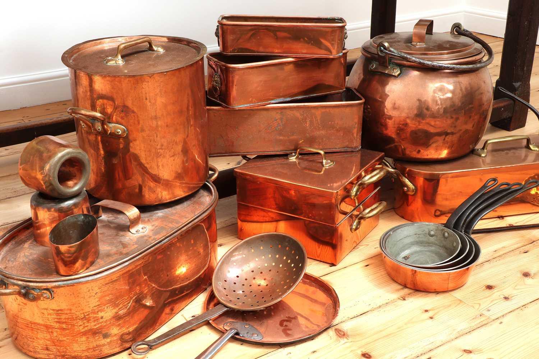 A copper batterie de cuisine, - Image 6 of 6