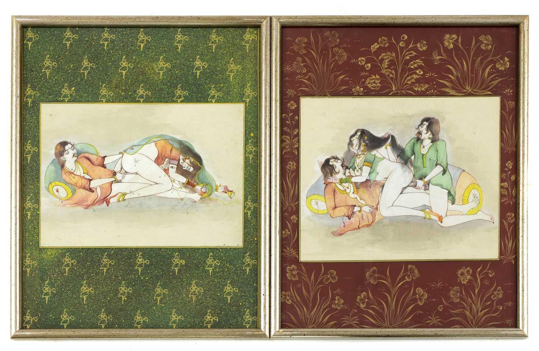 Fourteen Indian erotic paintings, - Image 3 of 5